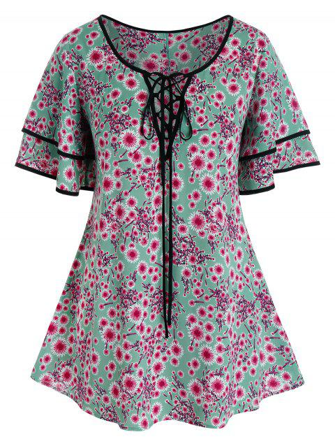 Plus Size Floral Print Lace-up Binding Tunic Blouse
