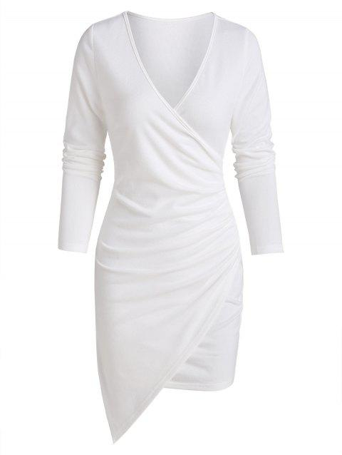 Long Sleeve Asymmetric Surplice Sheath Dress