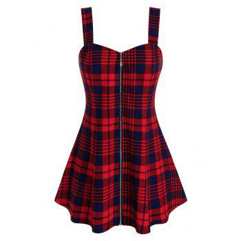 Plus Size Plaid Zip Front Backless Tunic Tank Top