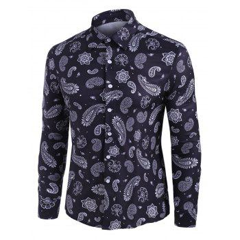 Paisley Print Long Sleeve Button Up Shirt
