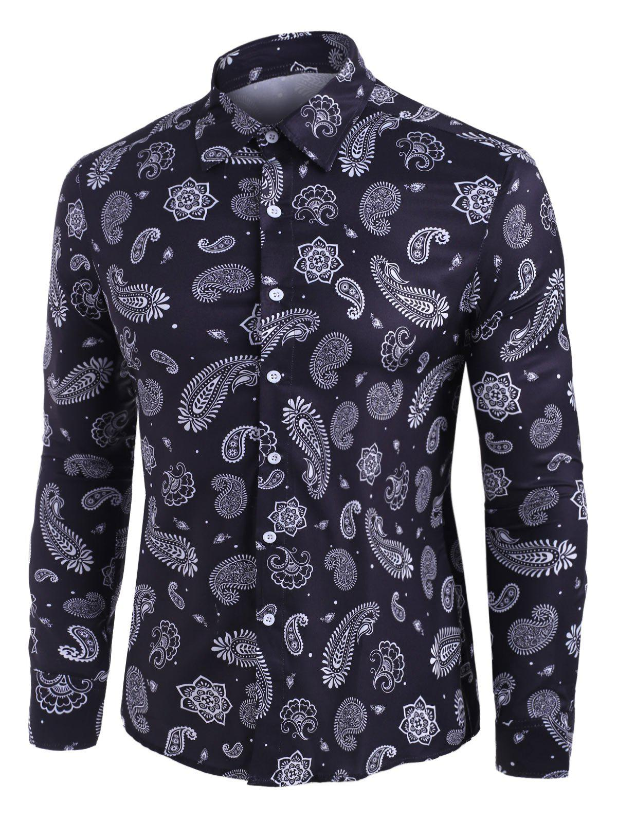 Paisley Print Long Sleeve Button Up Shirt - BLACK M