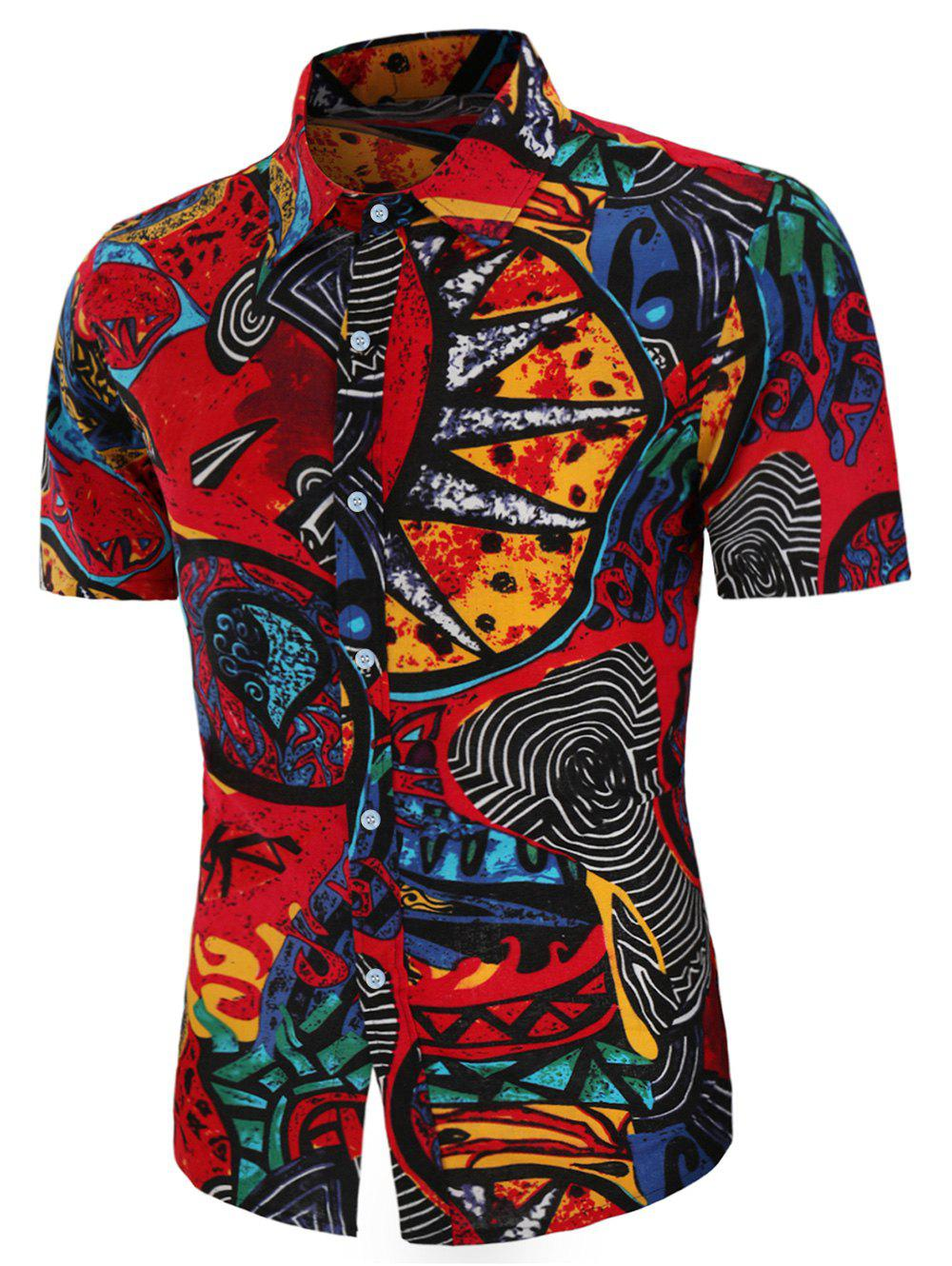 Abstract Tribe Print Linen Button Up Shirt - multicolor S