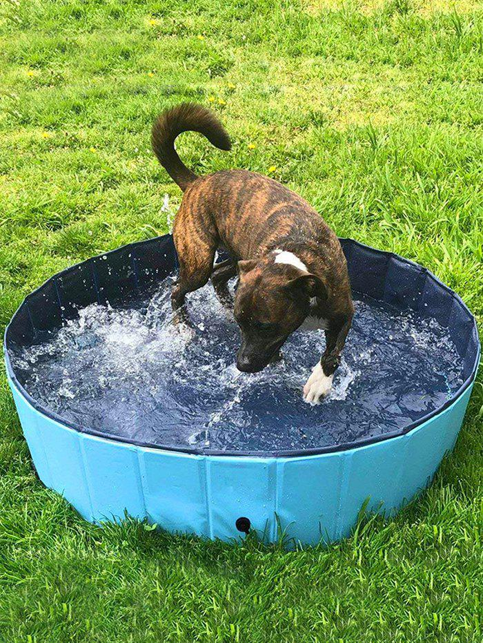 Outdoor Foldable Pet Dogs Swimming Pool Bathing Tub - BLUE