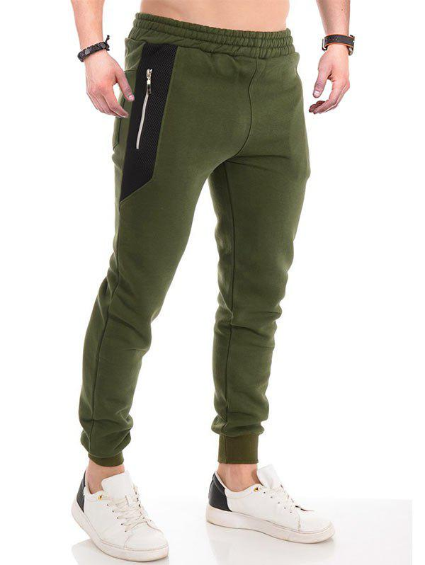 Colorblock Panel Elastic Waist Jogger Sweatpants - ARMY GREEN L