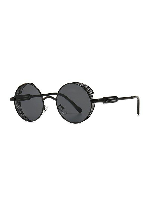 Punk Hollow Out Frame Round Sunglasses - BLACK