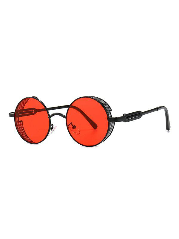 Punk Hollow Out Frame Round Sunglasses - RED