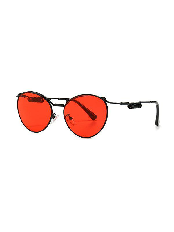 Punk Metal Helical Temple Sunglasses - RED