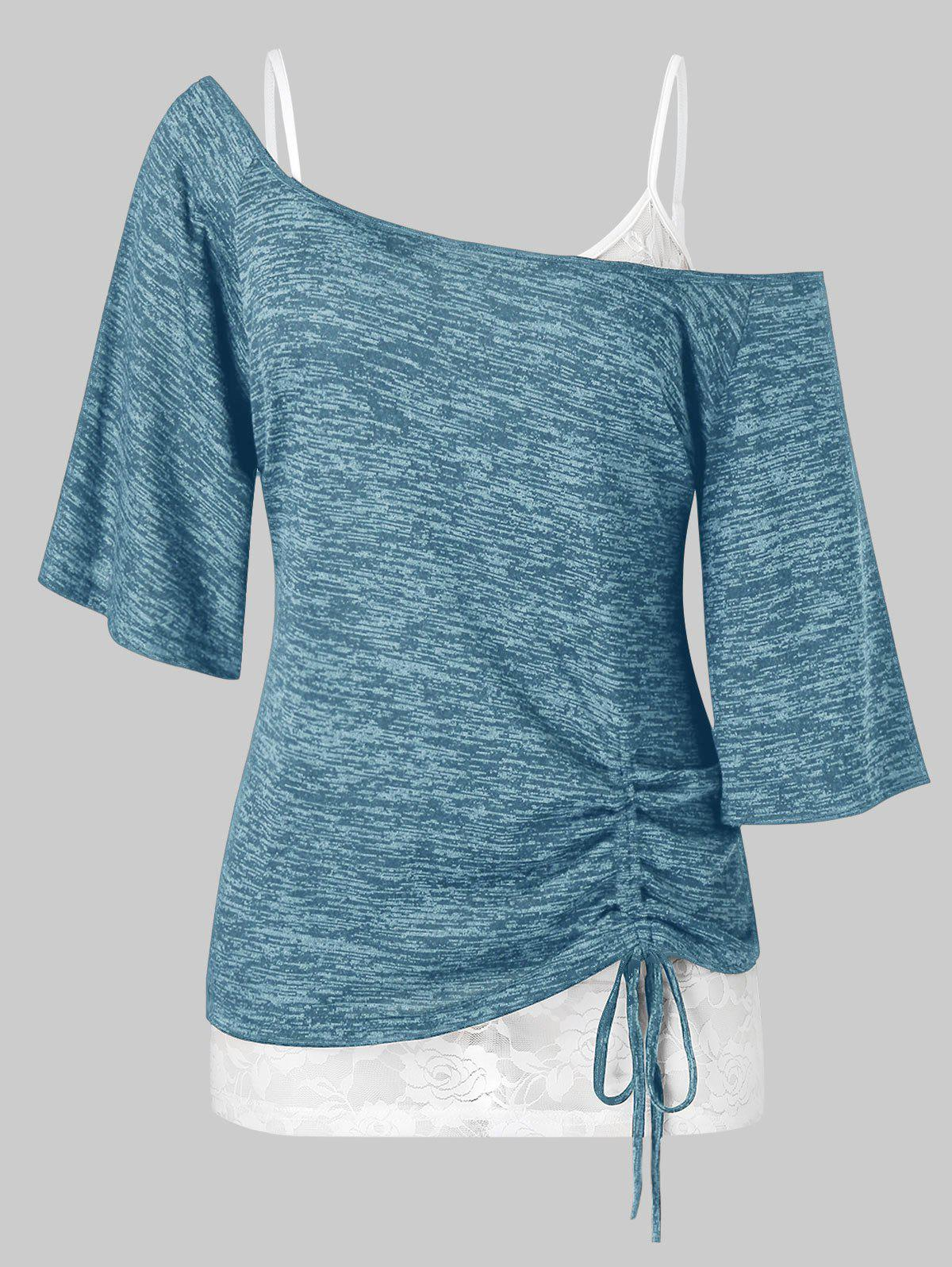 Plus Size Skew Collar Cinched Tee and Lace Cami Top Set - BLUE IVY 3X