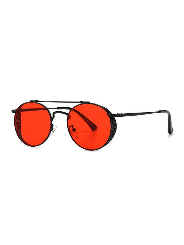 Metal Bar Hollow Out Round Sunglasses - RED