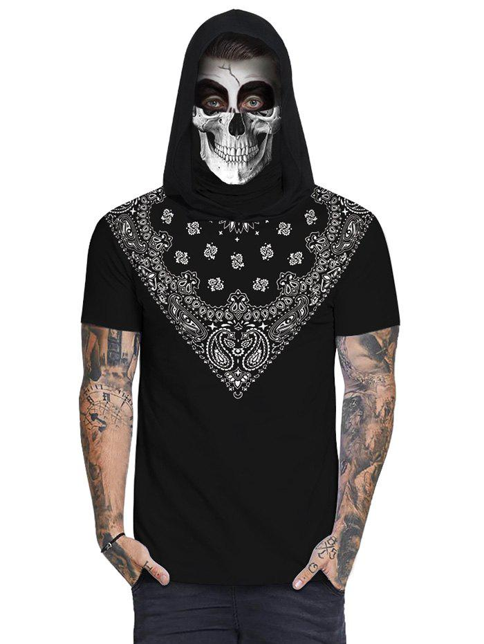 Bandana Skull Print Mask Hooded T-shirt - BLACK 2XL