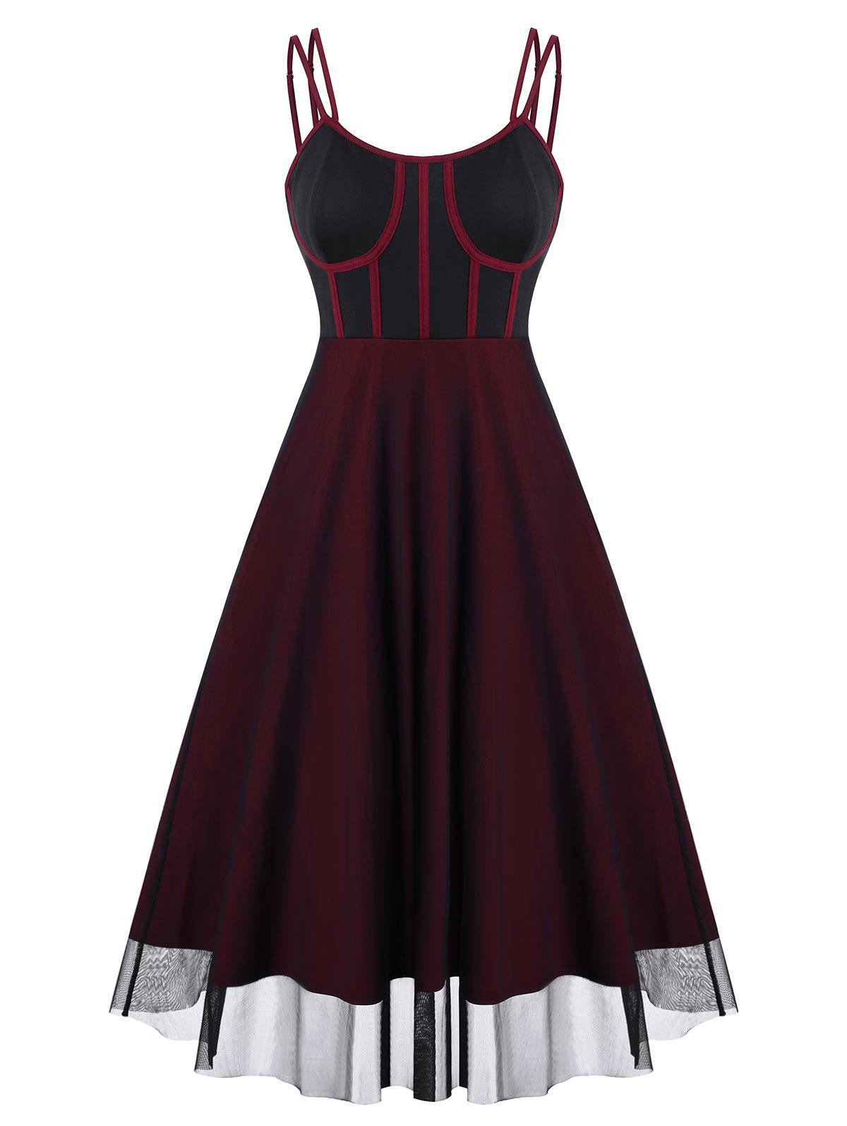 Piping Mesh Overlay Bustier Dress - DEEP RED L