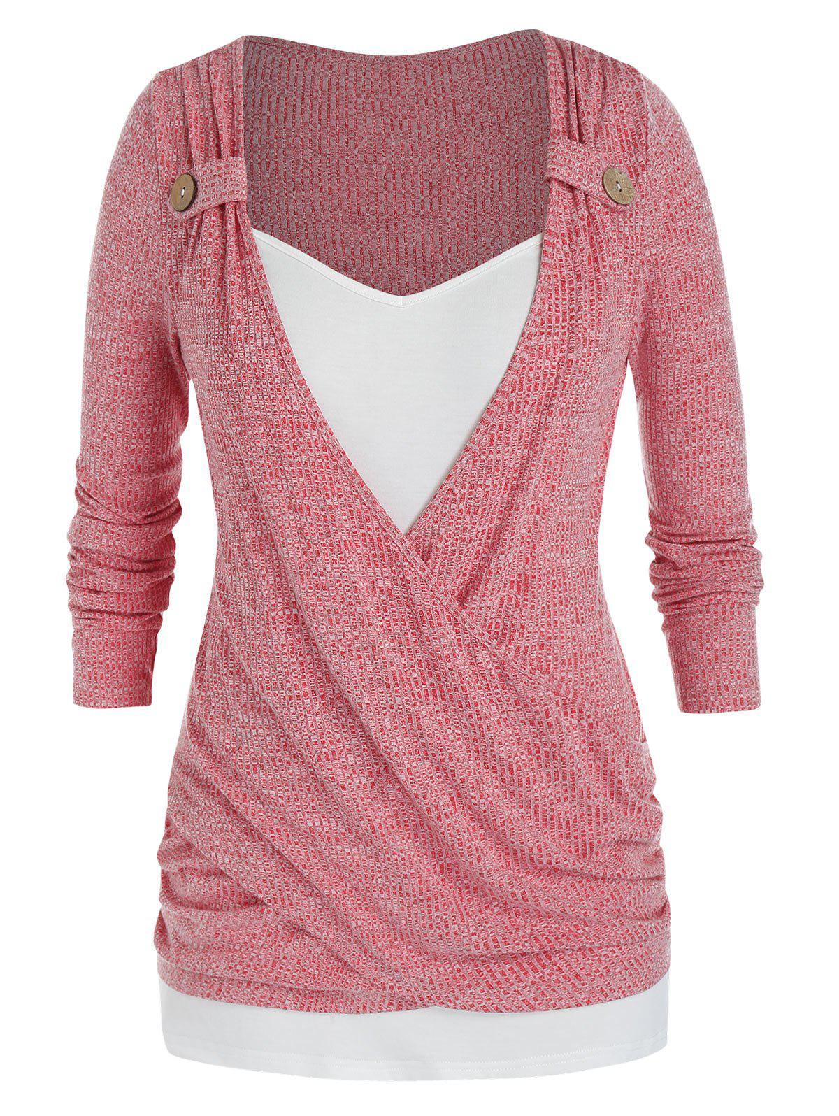 Plus Size Crossover Ruched Draped Long Sleeve Sweater - RED 1X