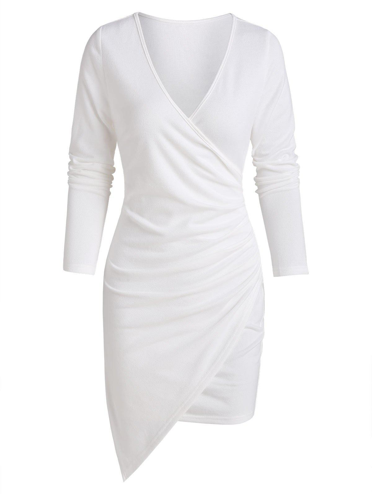Long Sleeve Asymmetric Surplice Sheath Dress - WHITE 2XL