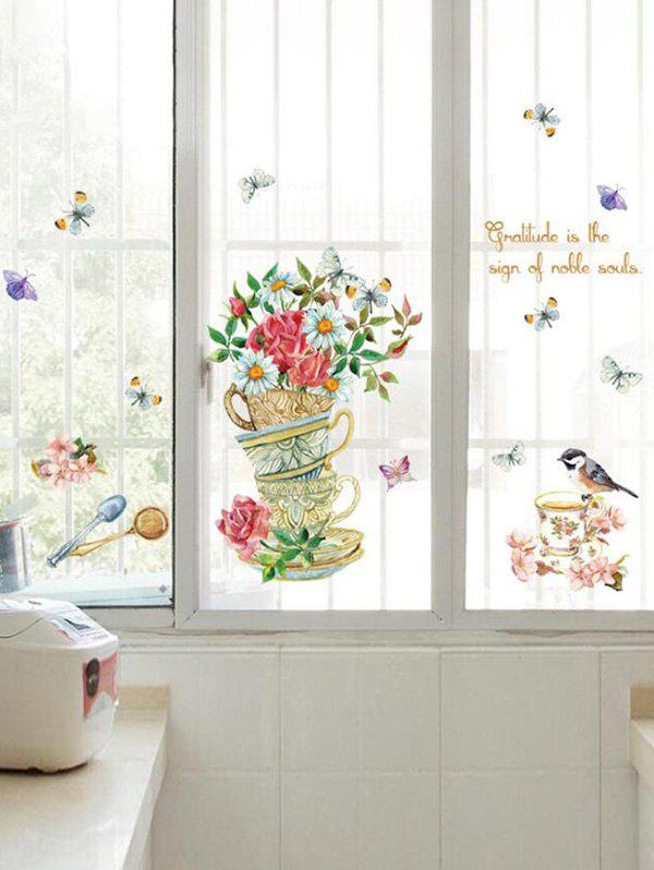 Flower Birds Butterfly Pattern Wall Stickers - multicolor A 50X70CM