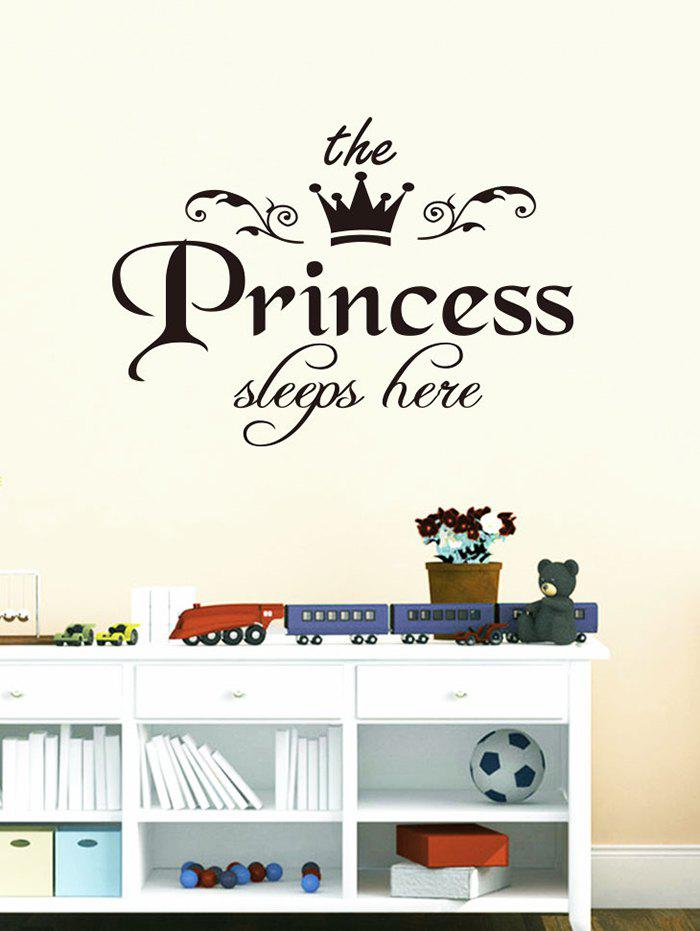 Princess Crown Print Decorative Wall Stickers - BLACK 45X25 CM
