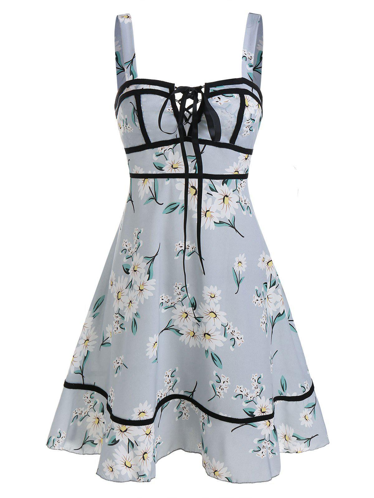 Flower Print Lace-up Sleeveless Dress - BLUE GRAY M