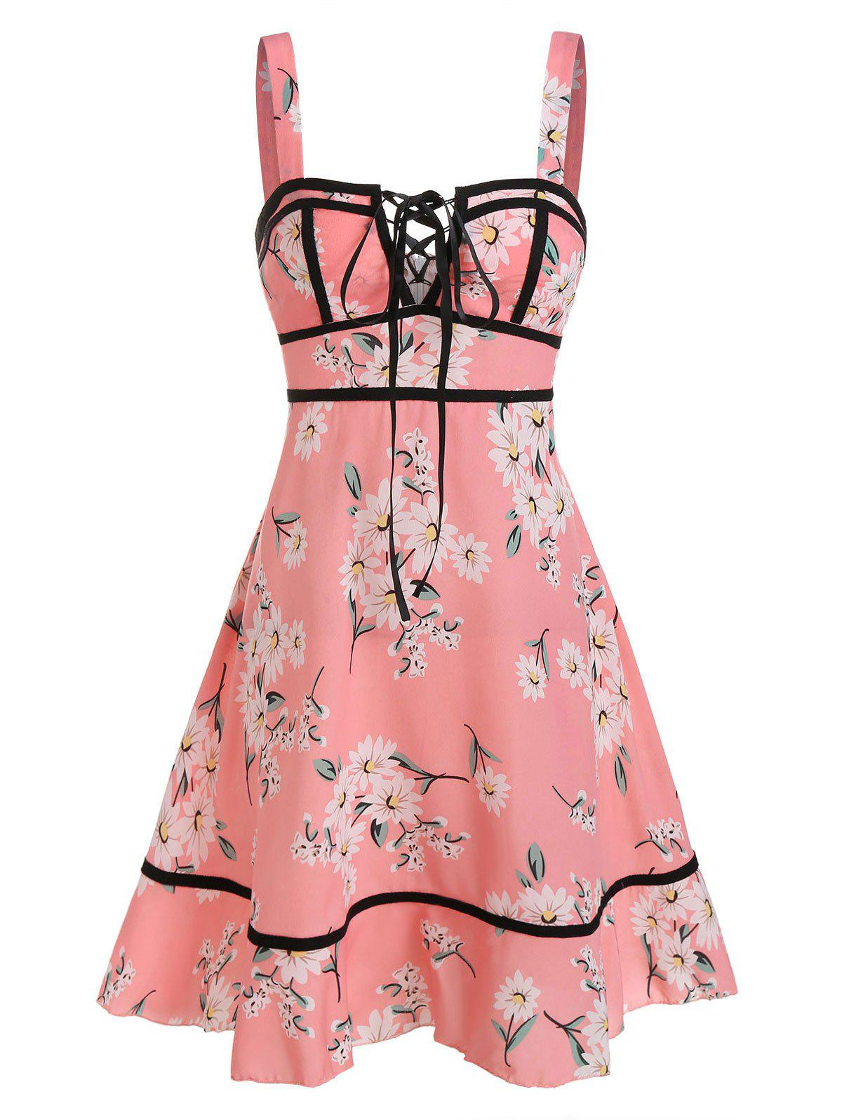 Flower Print Lace-up Sleeveless Dress - PINK L