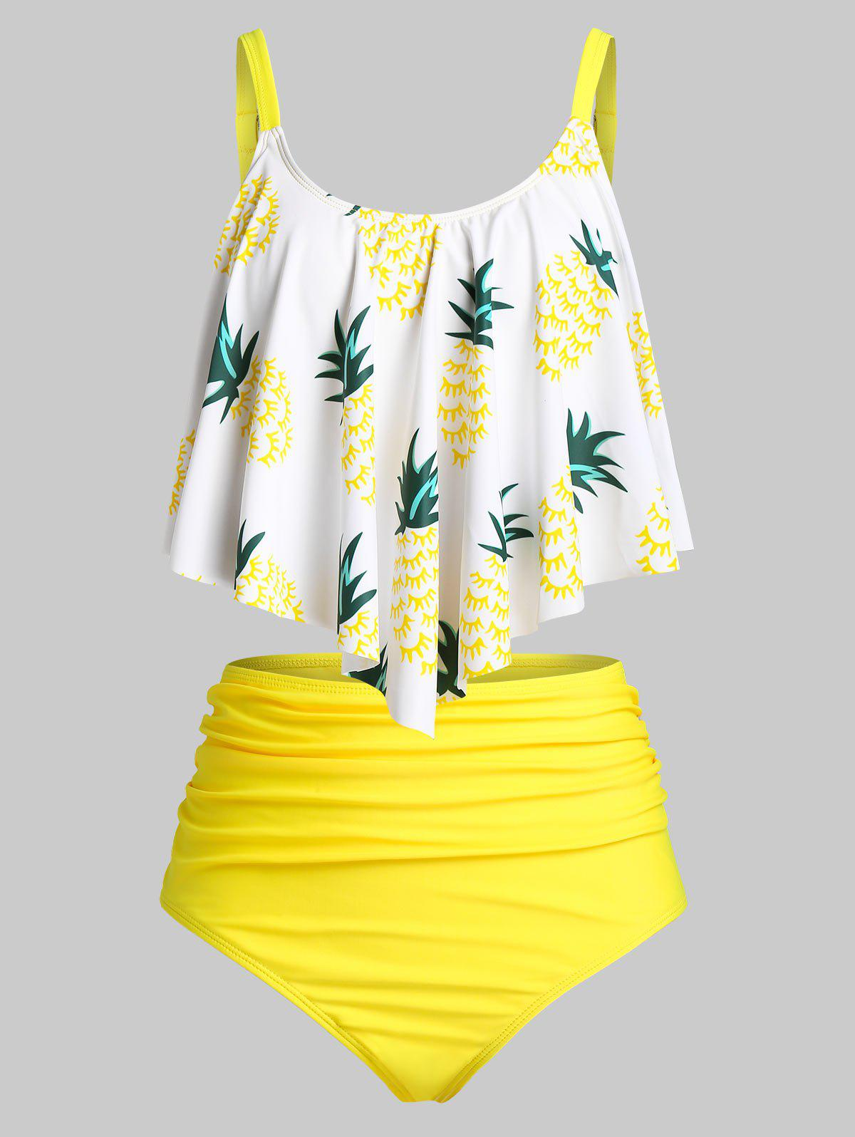 Plus Size Pineapple Ruched High Rise Tankini Swimwear - WHITE 1X