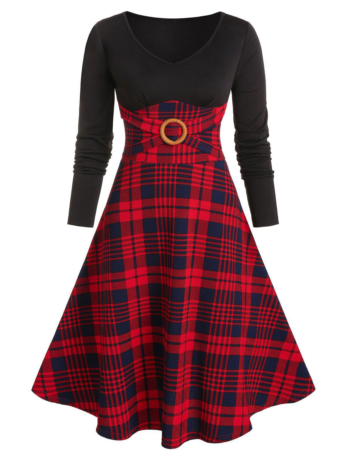 Plaid Print O-ring Long Sleeve Dress - RED XL