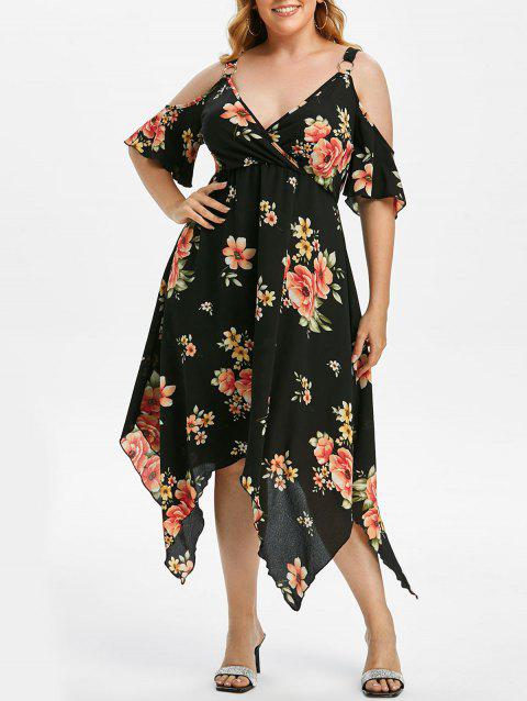 Plus Size Floral Rings Cold Shoulder Asymmetrical Surplice Dress