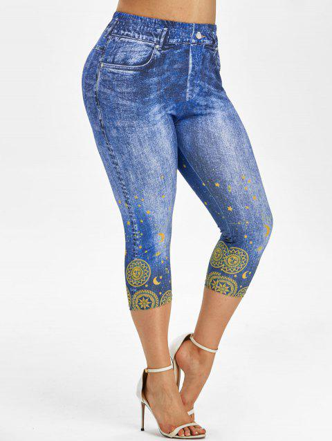 Plus Size Moon and Sun 3D Print Cropped Jeggings
