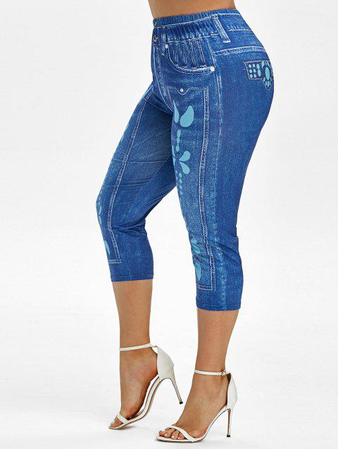 Plus Size High Waist 3D Jean Print Cropped Jeggings