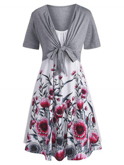 Tie Front Top and Floral Trapeze Cami Dress