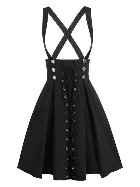 Double Breasted Lace Up Mini Suspender Skirt