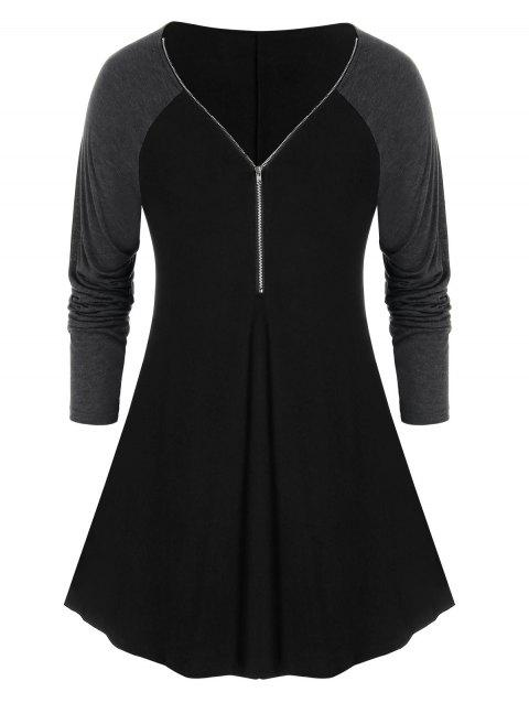 Plus Size Two Tone Placket Zip Long Sleeve Tee