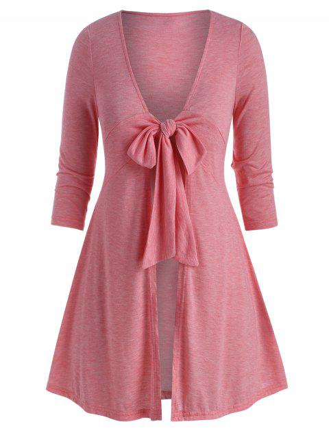Plus Size Front Tie Plunge Long Tunic Tee