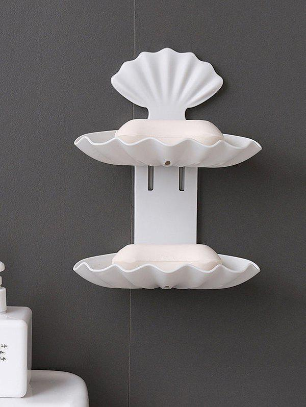 Wall-mounted Double-layered Bathroom Drain Soap Holder - WHITE