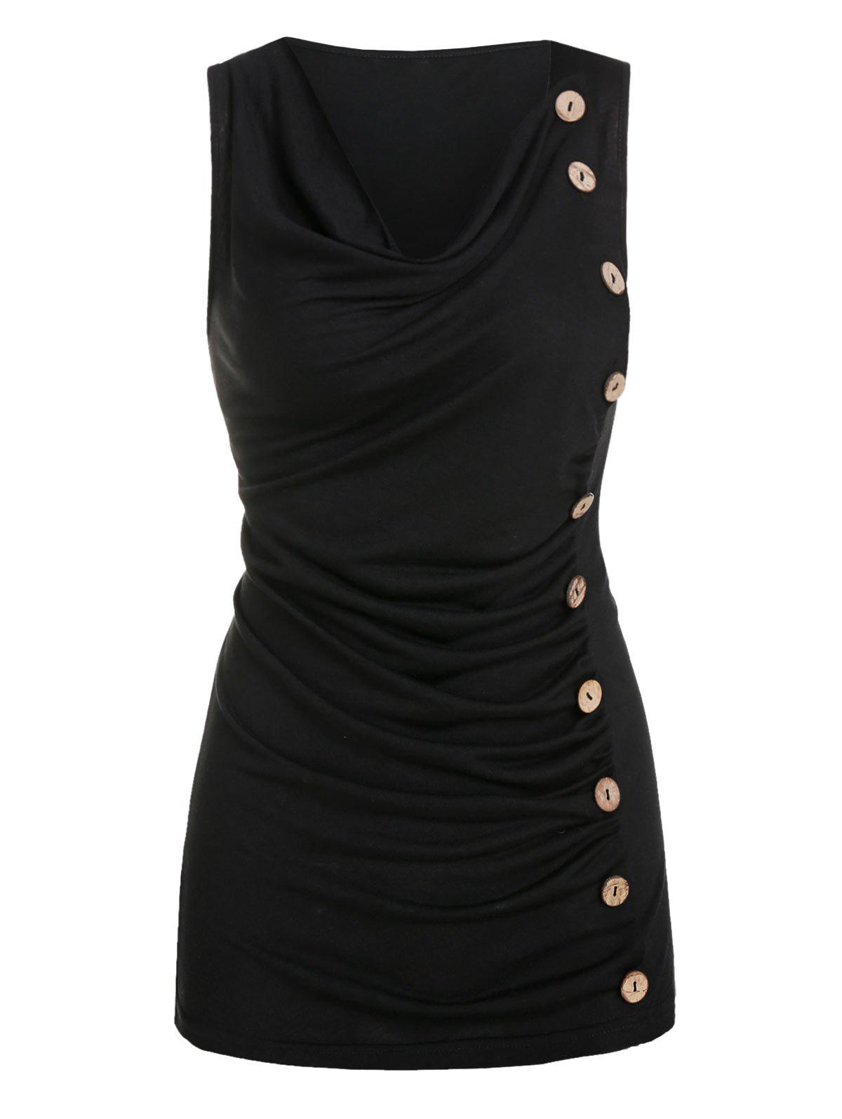 Mock Button Ruched Cowl Neck Tank Top - BLACK M