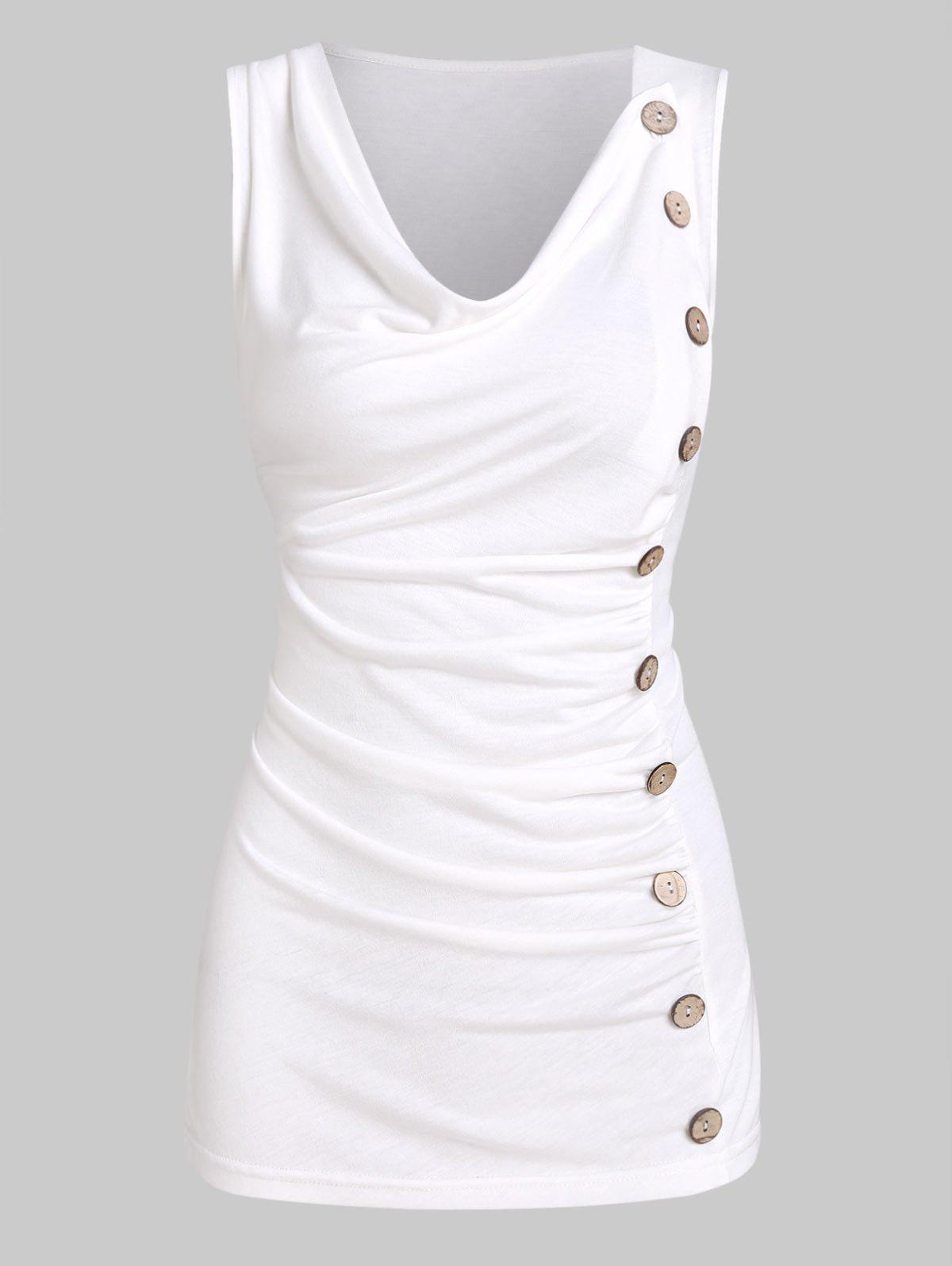 Mock Button Ruched Cowl Neck Tank Top - WHITE L
