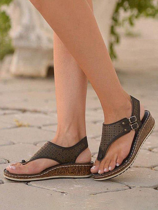 Hollow Out Low Wedge Thong Sandals - BLACK EU 40