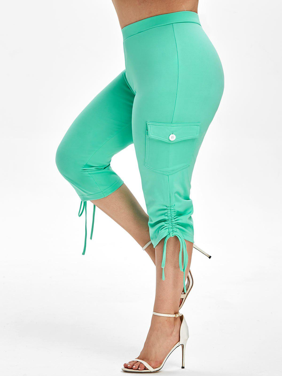 Plus Size Side Pockets Cinched Cropped Pants - AQUAMARINE 2X