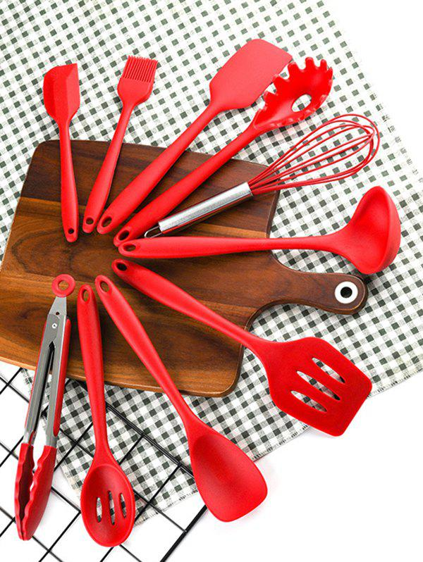 10Pcs Silicone Non-stick Kitchen Cooking Tool Set - RED