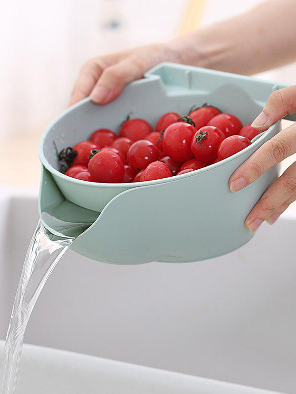 Double-layered Fruit Vegetable Drain Basket with Phone Holder - LIGHT BLUE