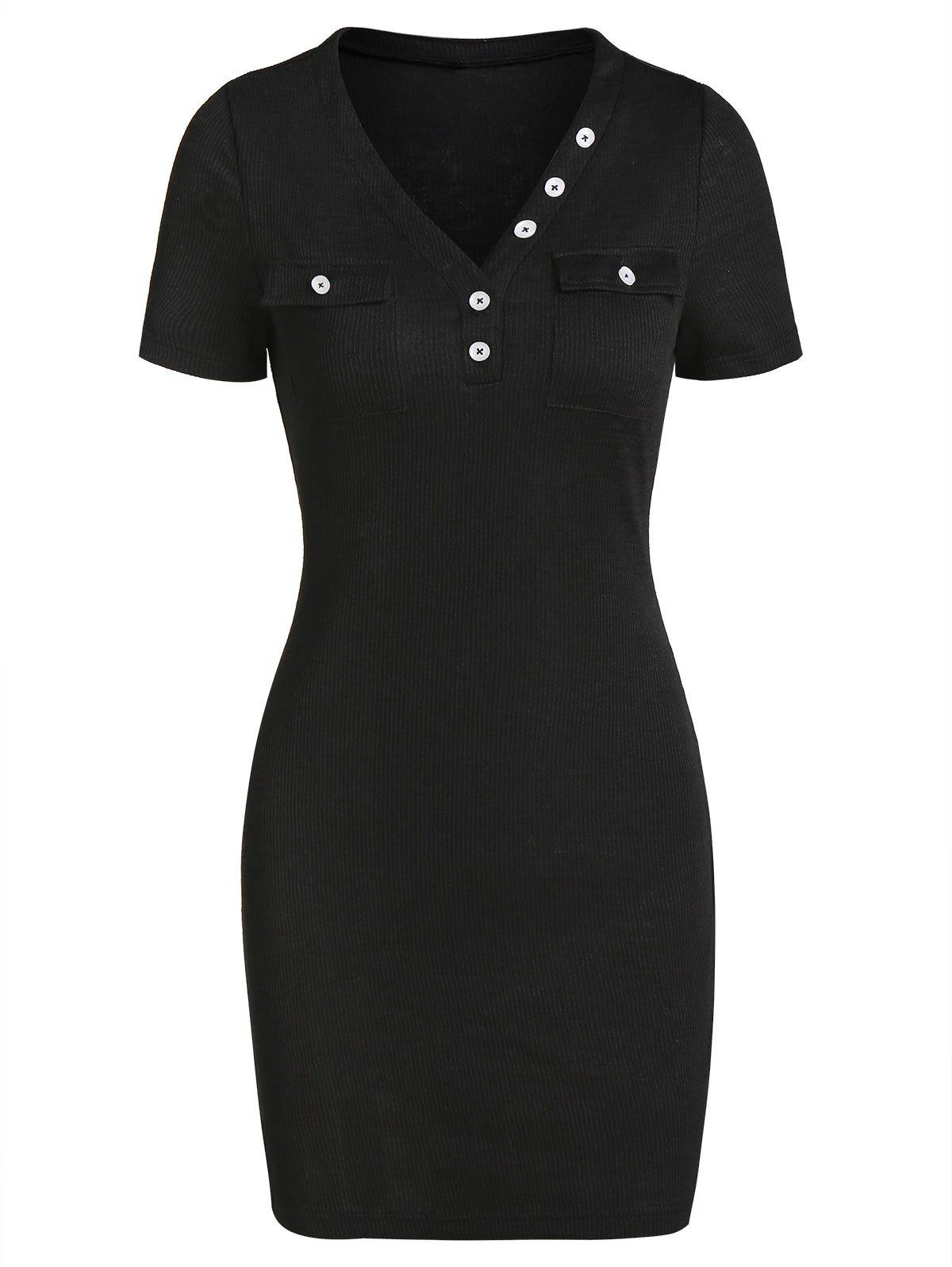 Double Pockets Ribbed Sheath Dress - BLACK XL
