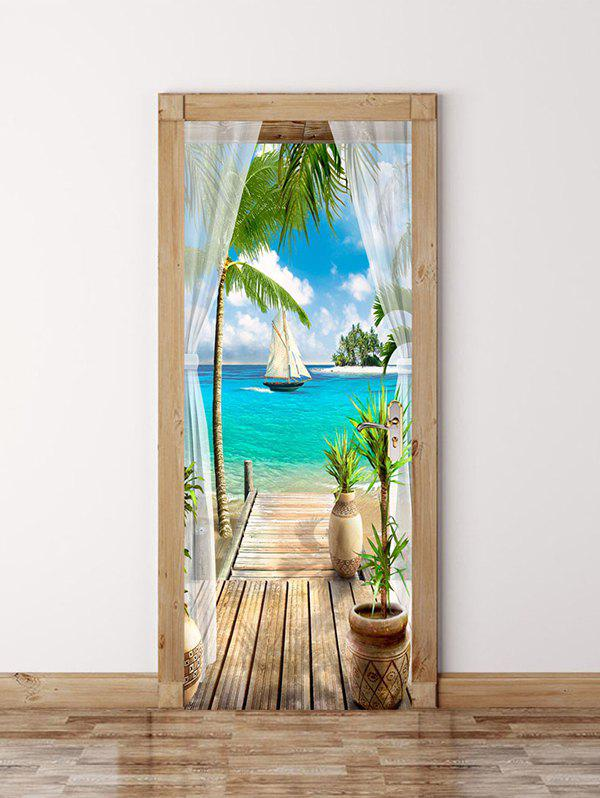 Sea Boat Palm Tree Landscape Print Removable Wall Door Stickers - multicolor 2PCS X 15 X 79 INCH