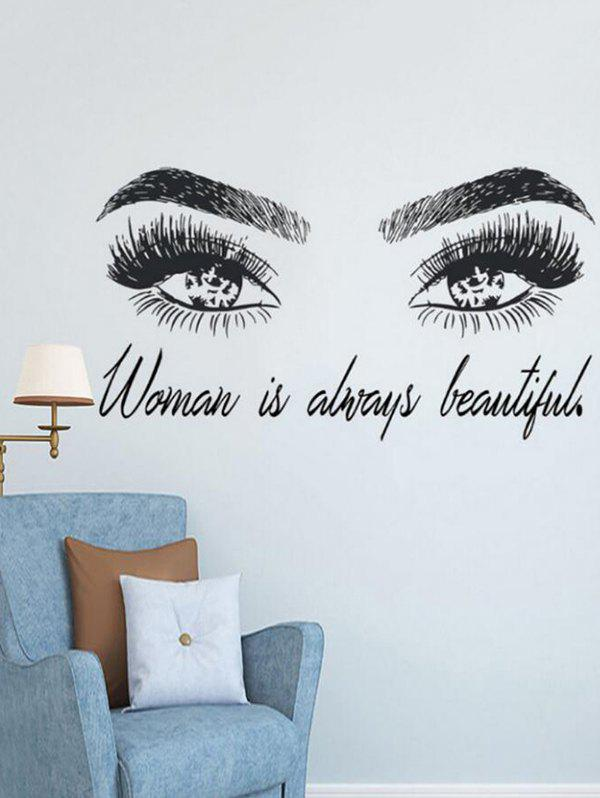 Beautiful Eyes Pattern Removable Wall Stickers - BLACK 77X42CM