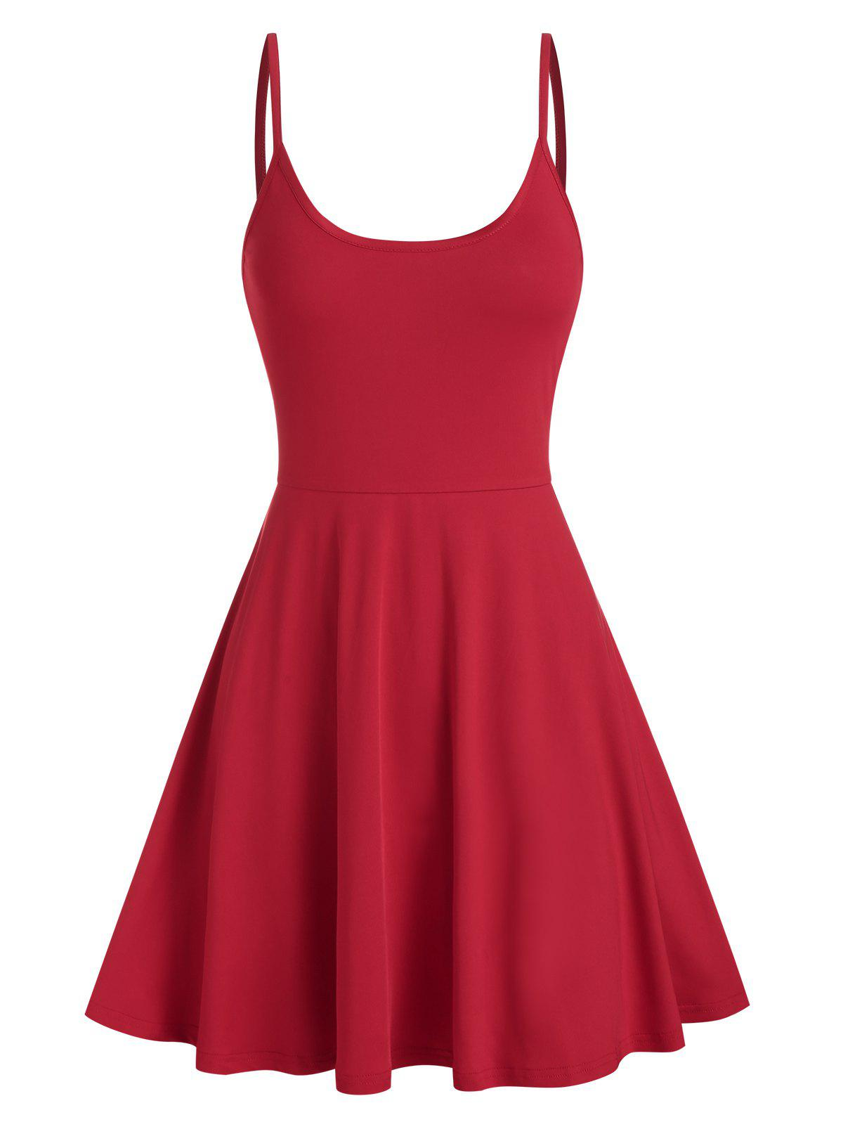 Spaghetti Strap Plain Flare Dress - RED S