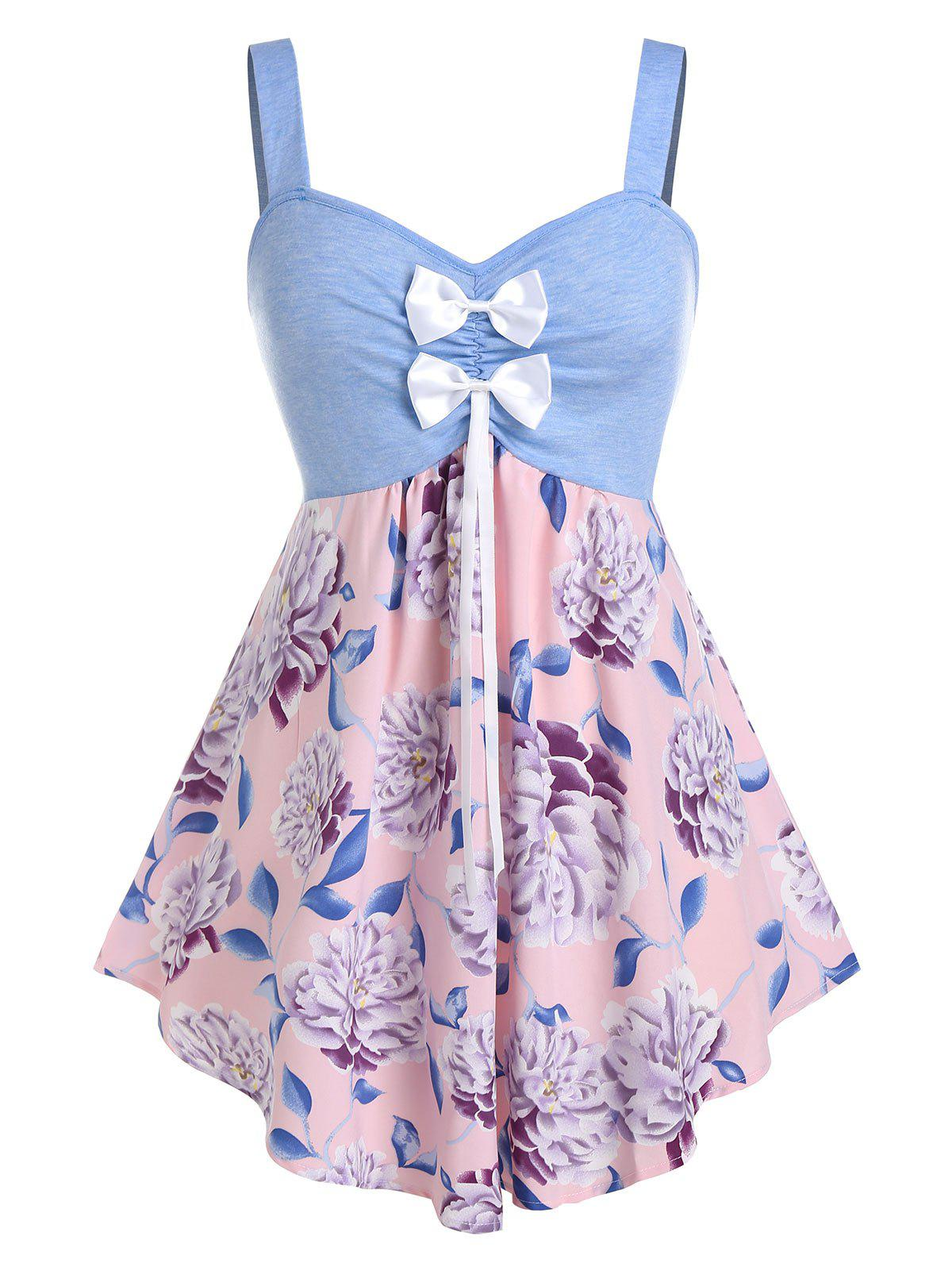Plus Size Bowknot Flower Print Backless Tunic Tank Top - CRYSTAL BLUE 5X