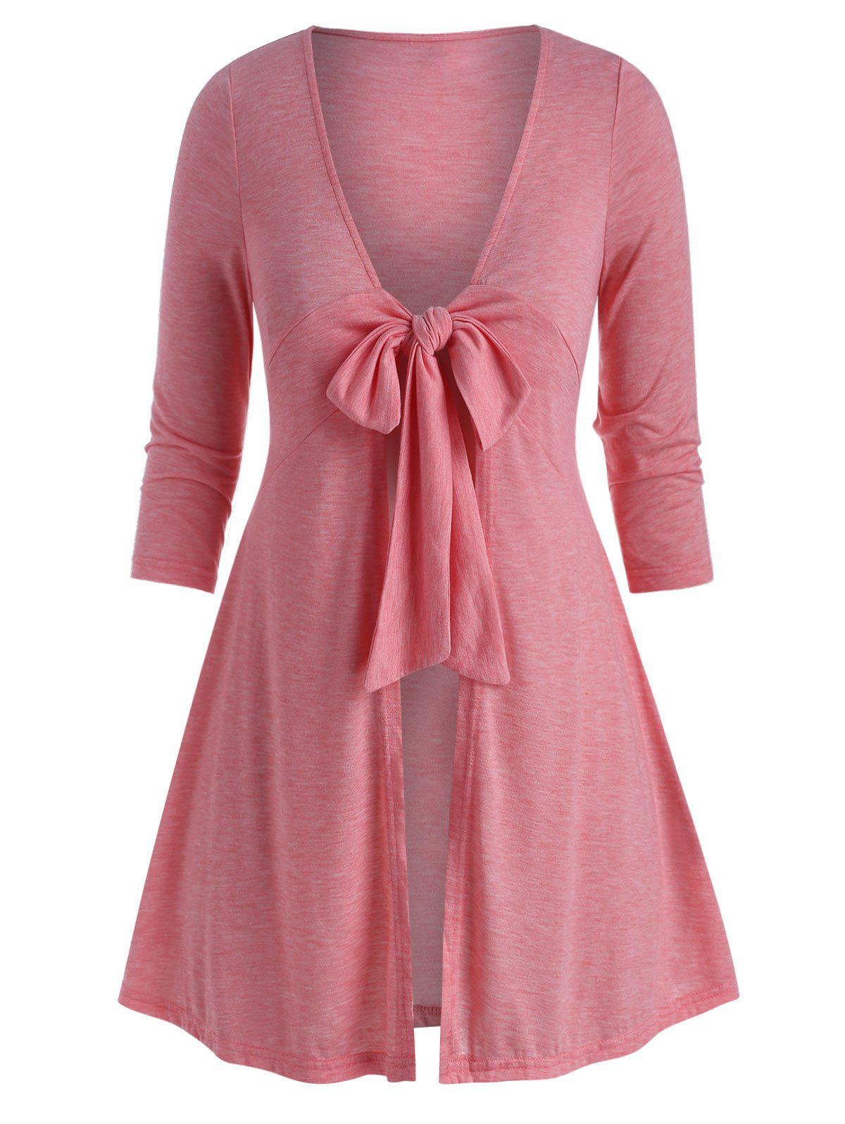 Plus Size Front Tie Plunge Long Tunic Tee - LIGHT PINK 5X