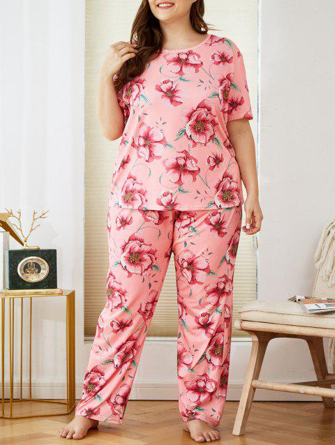 Plus Size Flower Print Short Sleeve Pajamas Set
