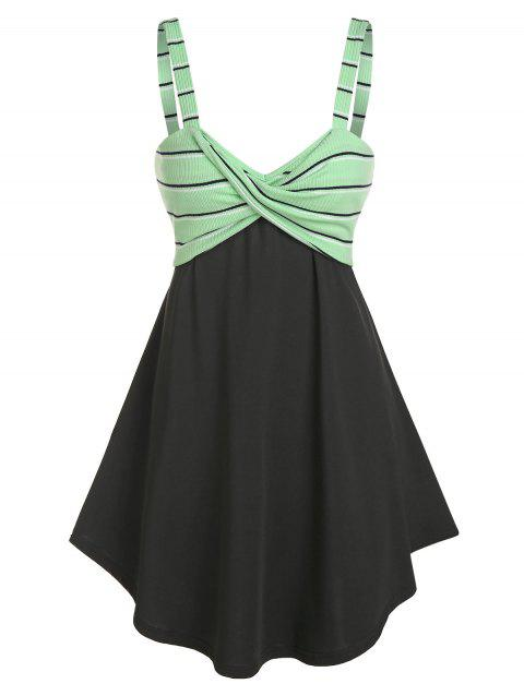 Striped Knot High Waist A Line Dress