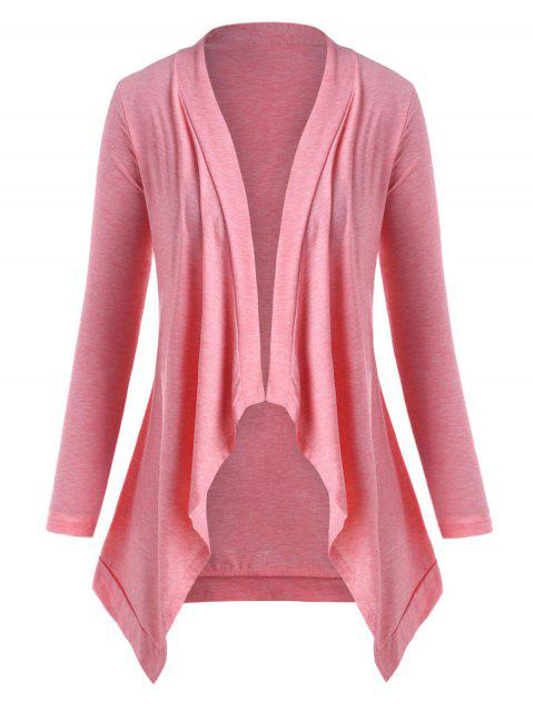 Open Front Waterfall Heathered Plus Size Cardigan