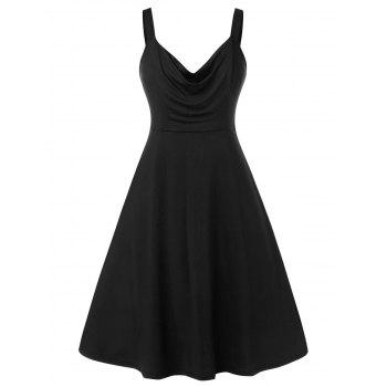 Plus Size Solid Color Ruched Sleeveless Dress
