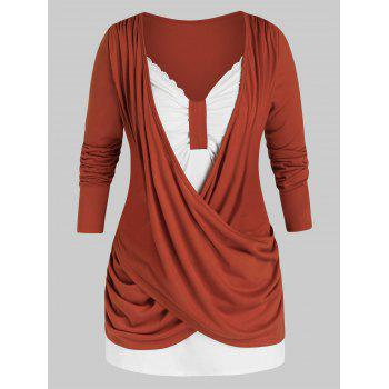 Plus Size Crossover Ruched Draped Long Sleeve Tee