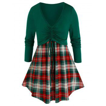 Plus Size Plaid Cinched Tie Contrast Long Sleeve Tee