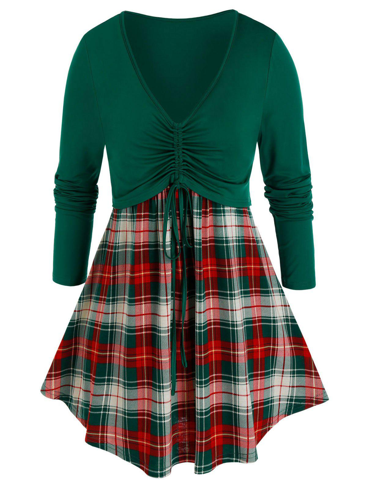 Plus Size Plaid Cinched Tie Contrast Long Sleeve Tee - DEEP GREEN 5X